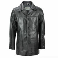 Mens Real Leather Mid 3/4 Length Vintage Smart Casual Button Black Reefer Jacket