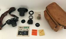 Vintage Asahi Pentax KM SLR 35mm Film Camera Black with Accessories & Carry Case