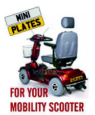 QUALITY PERSONALISED NUMBER PLATE FOR MOBILITY SCOOTER - REAL NOT CHEAP STICKER