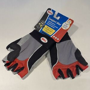 NEW Bell Comfort Max Cycling Gloves Size LARGE/XL - Black Gray Red - Gel Pads