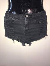 Brandy Melville Black Cut Off Frayed Distressed High Waist  Shorts Size Medium
