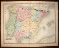 Spain and Portugal Card Geographic Historical per Andriveau Stud 1850