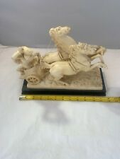 Vintage A Santini Resin/Alabaster Sculpture Horses And Chariot
