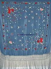 Hand embroidered wedding evening wrap spanish silk flamenco piano shawl, mantone