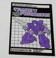Hasbro Transformers G1 Horri-Bull Bi-Lingual Canadian Instruction Booklet