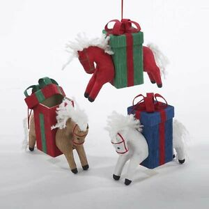 Horse w/Gift Box Ornament
