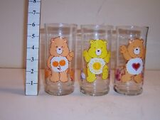 3 Care Bear Collectible Glasses Pizza Hut Friend Tenderheart Funshine 1983