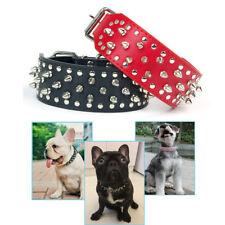 New Pet  Dog PuppyAdjustable Spiked Studded Collar PU Rivet Leather Bull Punk