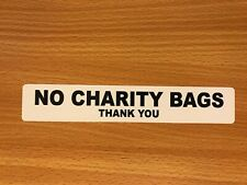 NO CHARITY BAGS THANK YOU STICKER FRONT DOOR