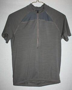 IBEX M Gray Cycling Jersey  *Half Zip* Bike Pockets Medium Men's *Merino wool