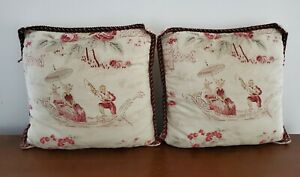 2 Vintage Waverly Chinoiserie Man Woman Floral Throw Pillows
