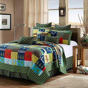 Twin Lake & Lodge Life 2pc Quilt Set Country Cabin Bedspread Pink Light Studio
