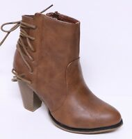 FOREVER CAMILA-23 WOMEN'S TAN ANKLE BOOTS SIDE ZIP NEW