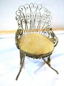 Antique Tramp Folk Art Tin Can Victorian Scroll Doll House Rocking Chair+Cushion