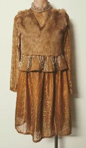 Womens Faux Fur & Suede Peplum Lace Dress 10 Tassels Festival Folk Hippie
