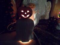 ASIAN INFLUENCE Halloween GHOST LITE w/ BLACK CAT CERAMIC JOL Head VTG INSPIRED