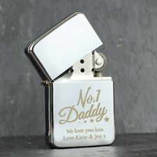PERSONALISED Engraved Silver Lighter No 1 Daddy Fathers Day Birthday Gift