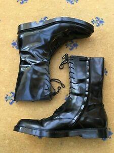 Gucci Mens Shoes Black Leather Military Combat Boots UK 11.5 US 12.5 45.5 Script