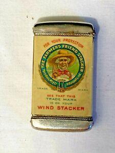 Vintage Farmers Friend Stacker Match Safe w/ Celluloid Wrap