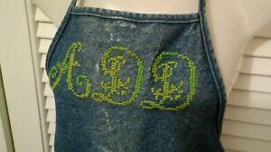 Original Denim Apron Vtg 1950s Handmade Work Wear Cross Stich Monogram ADD USA