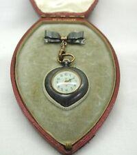 Victorian Heart Shaped Gun Metal & Gold Gilt Ladies Fob Watch In Original Box
