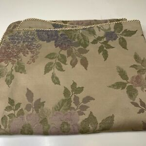 pillow sham tan with purple floral print poly cotton blend rope edging go
