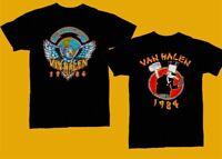 Van Halen T-Shirt 1984 World Tour Concert Black T-Shirt Regular Size S-3XL HOT!