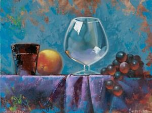 original painting 30 x 40 cm 3OE art samovar Modern oil still life fruits