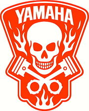 yamaha skull in flames vinyl decal window or bumper sticker