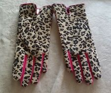 JCP Gloves Leopard Print  Suede Women's With Sheep Leather Trim S