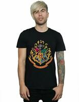 Official Harry Potter Men's Hogwarts Crest Gold Ink T-Shirt Black S Small BNWT