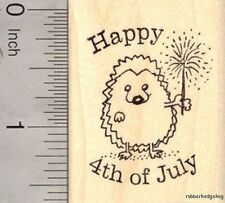 Happy 4th of July Hedgehog Rubber Stamp with Sparkler fourth of July  E17513 WM