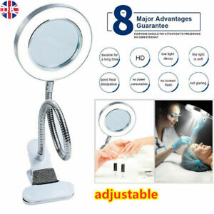LED Desk Lamp 8X Magnifier Glass Foldable Light Stand Clamp Beauty Magnifying UK