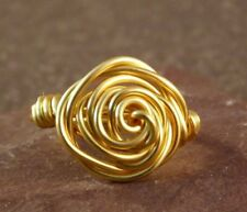 Handcrafted Rose Wire Wrapped Ring - Yellow Gold - Any Size G -Z