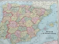 Antique COLOR MAP of Spain & Portugal-circa 1893