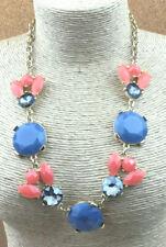 Fashion Necklace Acrylic orange Cornflower Blue Smoke Goldtone Statement