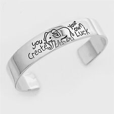 925 Silver Plt Bangle 'You Create Your Own Luck' Elephant Engraved  Ladies Gift