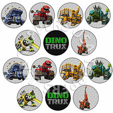 14x EDIBLE Dinotrux Birthday Party Cupcake Toppers Wafer Paper 4cm (uncut)