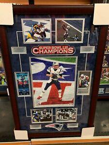 New England Patriots Super Bowl 53 Collage 20x32 Framed Photo Tom Brady