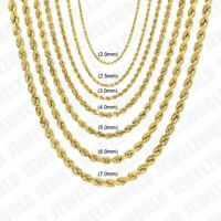 "10K Solid Yellow Gold Necklace Rope Chain 14'' - 30"" 2mm 2.5mm 3mm 4mm 5mm 6mm"