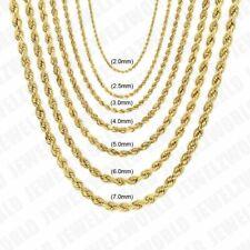 """10K Colar Ouro Amarelo sólido Cadeia De Corda 14"""" - 30"""" 2mm 2.5mm 3mm 4mm 5mm 6mm"""
