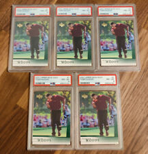 2001 Upper Deck Golf Tiger Woods #1 PSA 8 NM-Mint Lot of 5 - Rookie Card RC