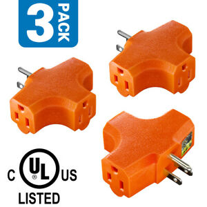 3 Pack Outlet T-shaped Adapter, UL Listed Heavy-Duty Plug Extender
