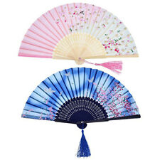 Vintage Bamboo Folding Hand Held Flower Fan Chinese Dance Party Gifts Bamboo Fan