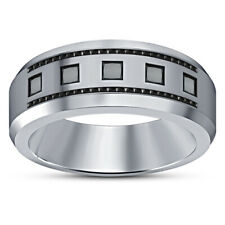 Engagement Band Ring 14K White Gold Over 1.30 Ct Princess Cut Aaa Diamond Mens