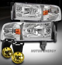 94-01 DODGE RAM TRUCK CHROME CRYSTAL HEAD LIGHT W/YELLOW FOG LAMP 1500 2500 3500