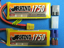 2 Rhino 1750mah 2s 7.4v Lipo Mini 1/16 TRAXXAS E-Revo Slash Rally Summit VXL RTR