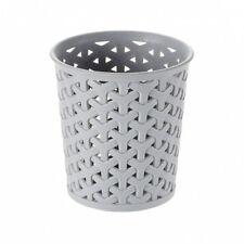 Small Round Faux Rattan Curver Organiser- Grey