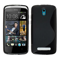 ACCESSORIES COVERS CASE COVER SILICONE GEL TPU S FILMS BLACK FOR HTC 500 DESIRE