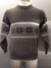 Vtg Michael Stossel Tan Wool Nordic Sweater L Snowflakes New Zealand